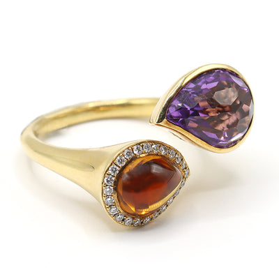 18K Yellow Amethyst & Citrine Diamond Ring