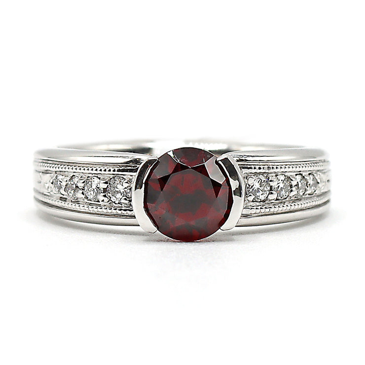19K White Gold Garnet Diamond Ring