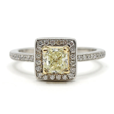 Platinum & 14K Yellow Gold Radiant Halo Diamond Ring
