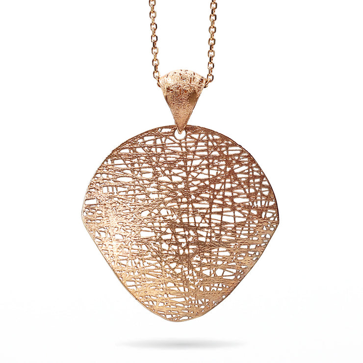 14K Rose Gold Shredded Wheat Circle Pendant