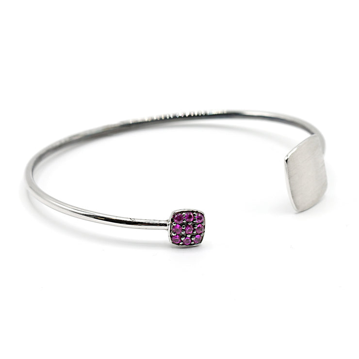 Sterling Silver Ruby Bangle
