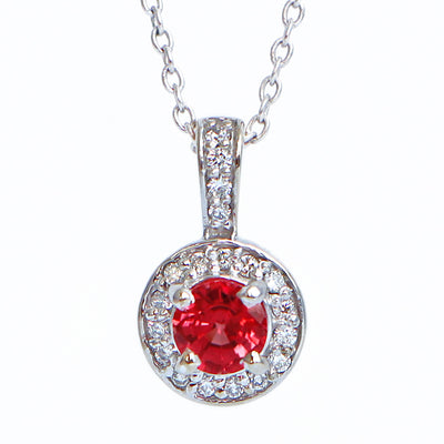 14K White Gold Orange Sapphire Diamond Pendant