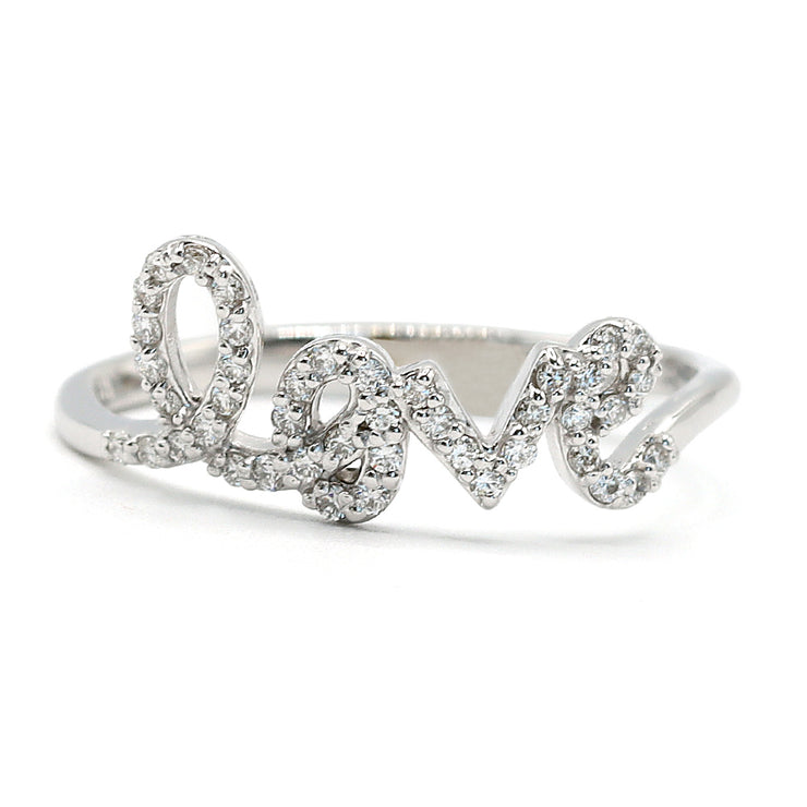 14K White Gold Diamond Love Ring