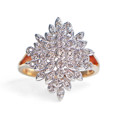10K Two Tone Diamond Cluster Ring