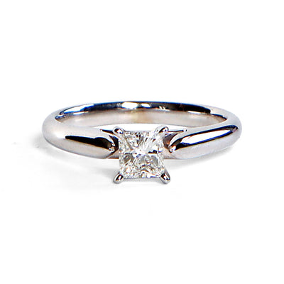 14K White Gold Princess Solitaire Diamond Engagement Ring