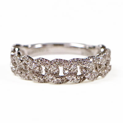 14K White Gold Diamond Cable Ring
