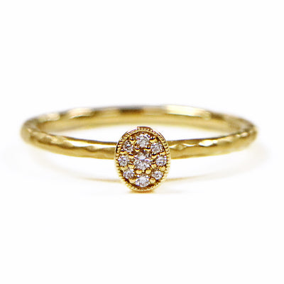 14K Yellow Gold Hammered Ring with Oval Diamond Cluster