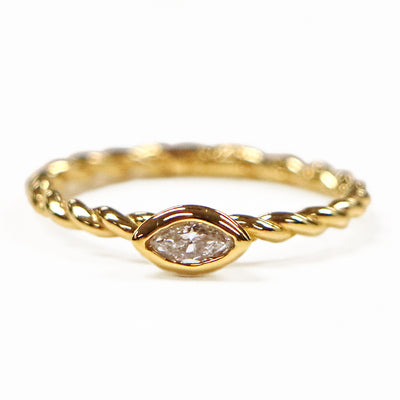 14K Yellow Gold Marquise Diamond Stackable Ring