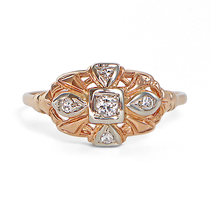 14K Two-tone Vintage Diamond East West Shield Ring