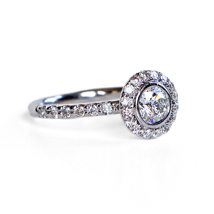 14K White Gold Halo Diamond Ring