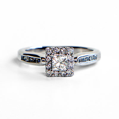 14K White Gold Princess Diamond Halo Ring