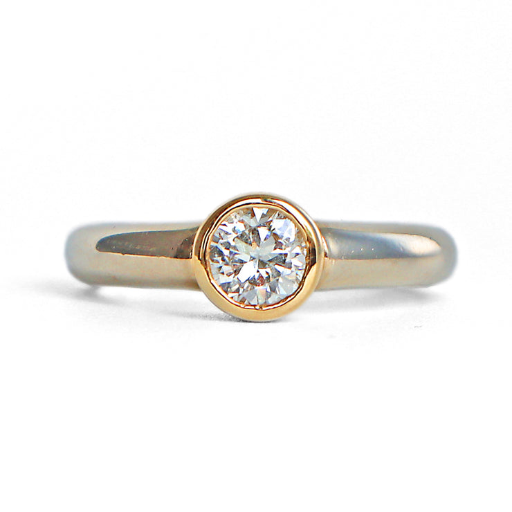 14K Two-tone Bezel Set Solitaire Diamond Ring
