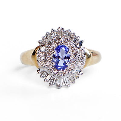 14K Two Tone Tanzanite Diamond Ring