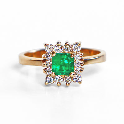 18K Yellow Gold Emerald Diamond Halo Ring
