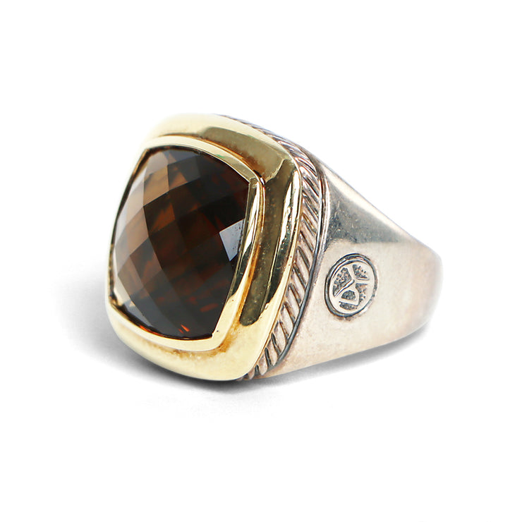 David Yurman 18K Yellow Gold & Sterling Silver Smokey Quartz Ring