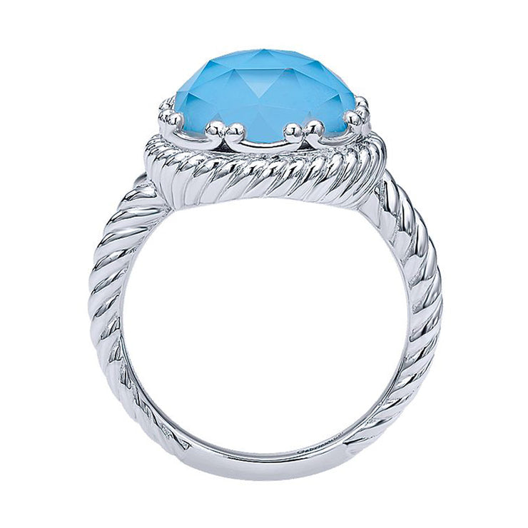 925 Sterling Silver Round Rock Crystal & Turquoise Twisted Rope Ring