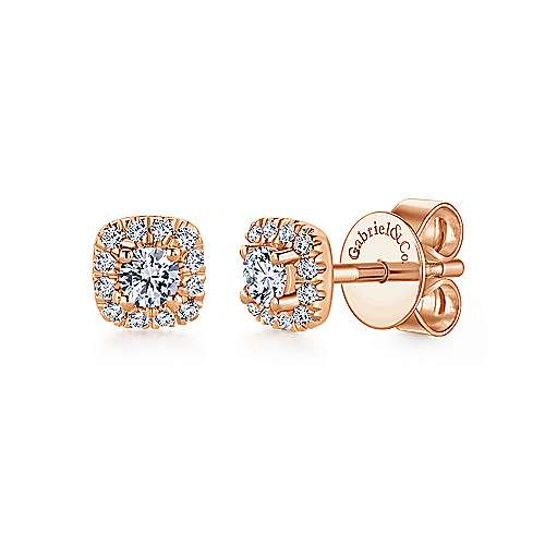 14K Gold Cushion Halo Round Diamond Stud Earrings