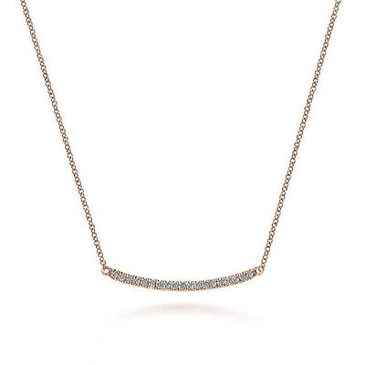 14K Rose Gold Diamond Pavé Curved Bar Necklace