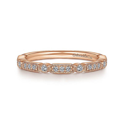 14K Gold Diamond Station Stackable Anniversary Band with Millgrain