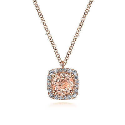14K Rose Gold Round Morganite and Cushion Diamond Halo Pendant Necklace