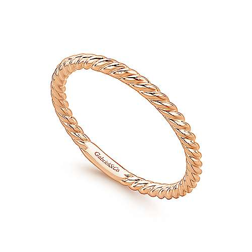 14K Gold Twisted Rope Stackable Ring