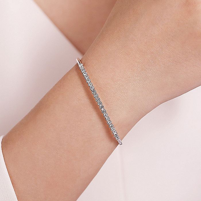 14K White Gold Bangle with Round Diamond Accents