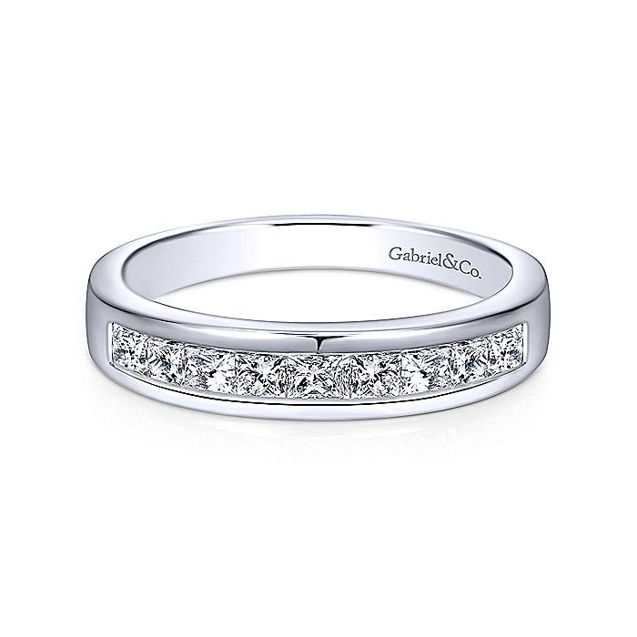 14K White Gold Channel Set Princess Cut 9 Stone Diamond Anniversary Band