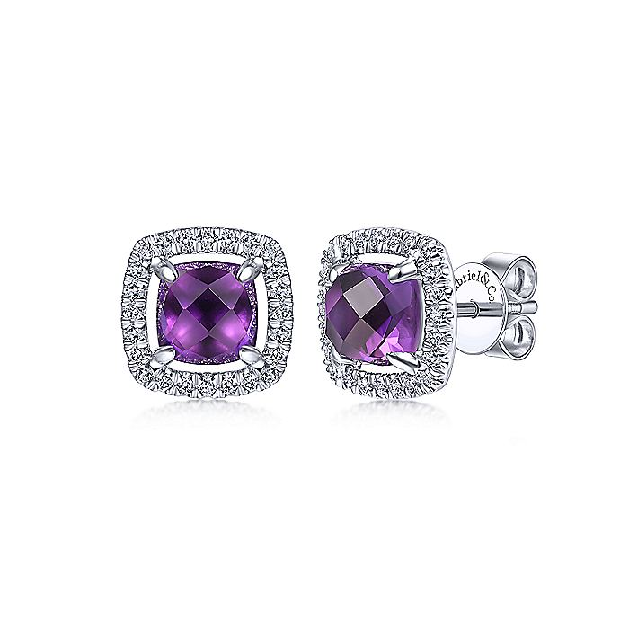 14K White Gold Cushion Cut Amethyst and Diamond Halo Stud Earrings