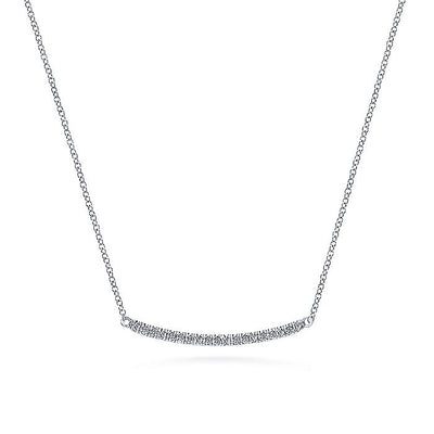 14K White Gold Diamond Pavé Curved Bar Necklace
