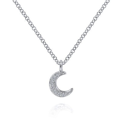 14K White Gold Diamond Pavé Moon Pendant Necklace