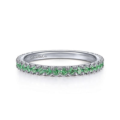 14K White Gold Emerald Stacklable Ring