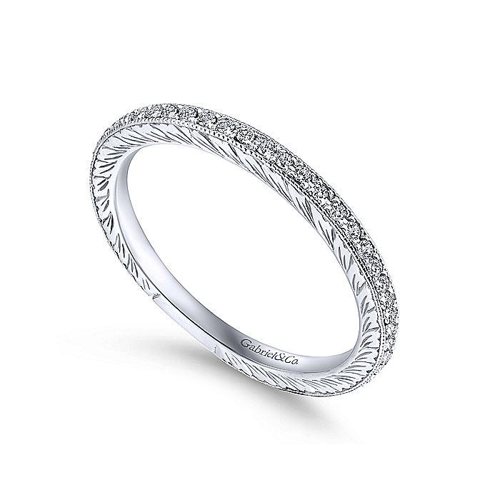 14K White Gold Hand Carved Stackable Diamond Ring