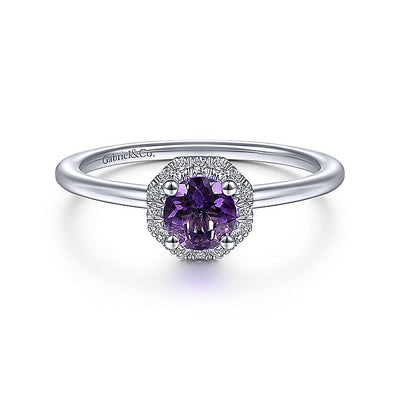 14K White Gold Hexagonal Diamond Halo and Round Amethyst Ring