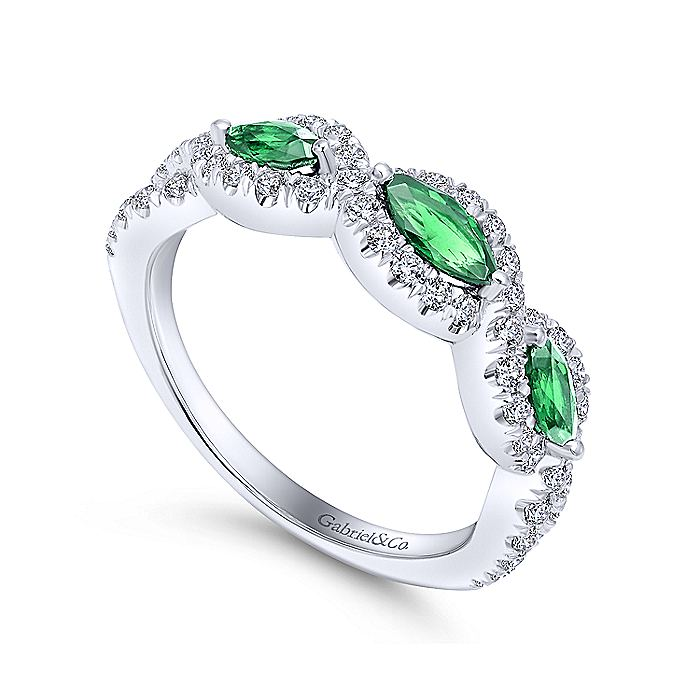 14K White Gold Twisted Diamond Rows and Emerald Marquise Stones Ring