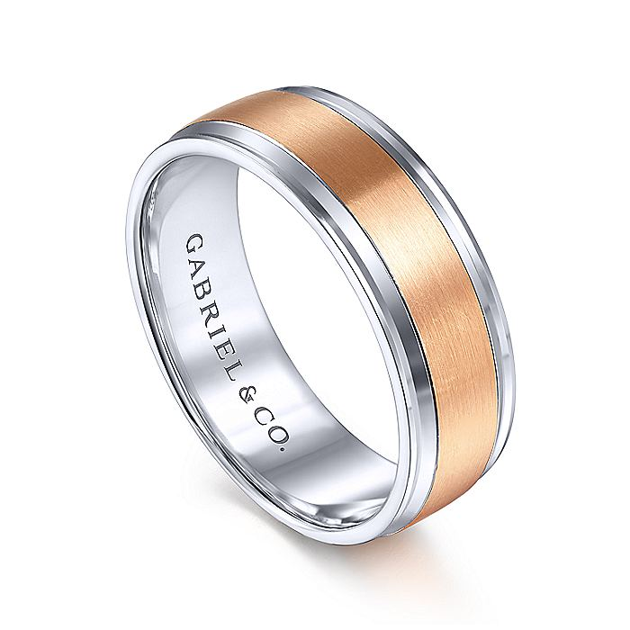 14K White-Rose Gold 7mm - Satin Center Men's Wedding Band