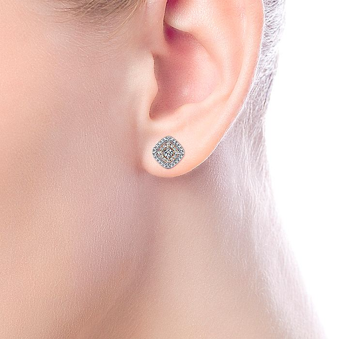 14K White-Rose Gold Diamond Earrings