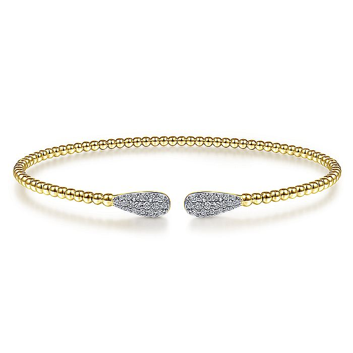 14K Gold Bujukan Bead Cuff Bracelet with Diamond Pavé Teardrops