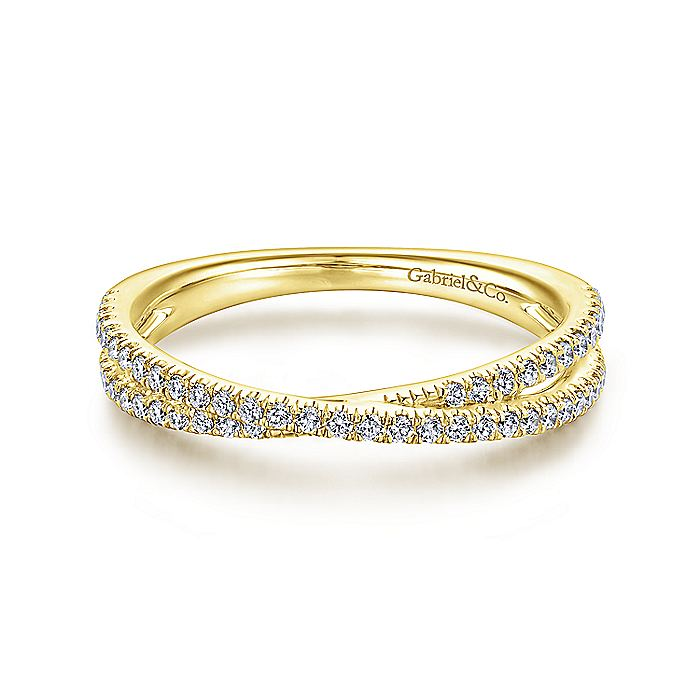 14K Gold Criss Cross Diamond Stackable Ring