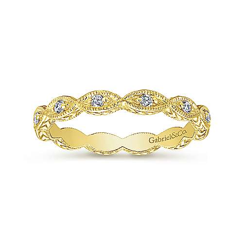 14K Yellow Gold Diamond Marquise Station Ring