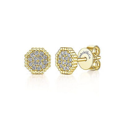 14K Gold Octagonal Pavé Diamond Cluster Stud Earrings