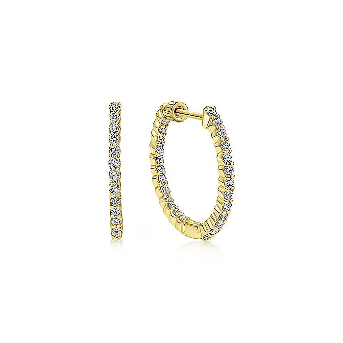 14K Gold Prong Set 20mm Round Inside Out Diamond Hoop Earrings