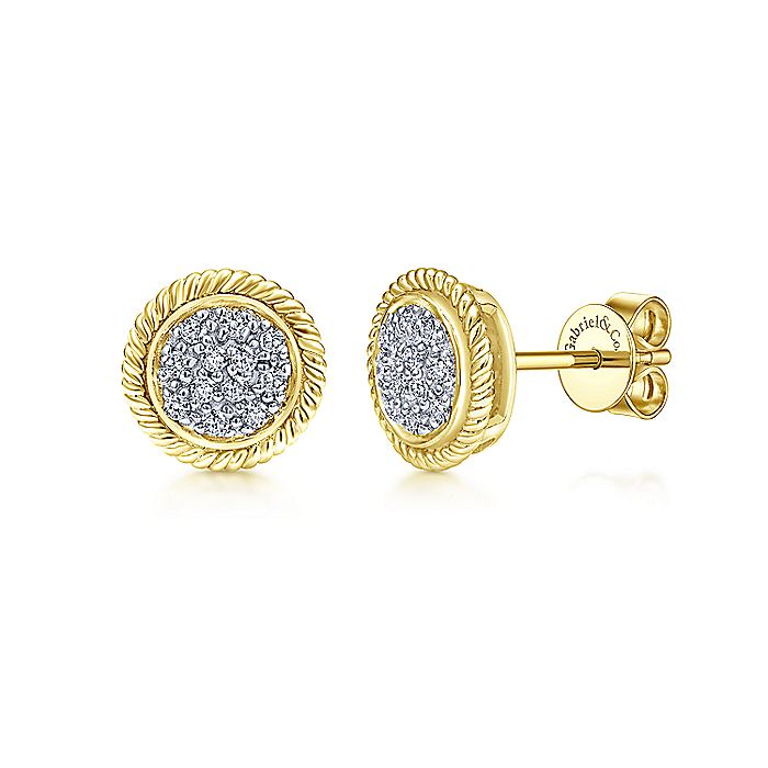 14K Gold Round Diamond Cluster Stud Earrings with Twisted Rope Frame