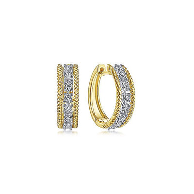 14K Yellow-White Gold Twisted 15mm Diamond Huggie Earrings