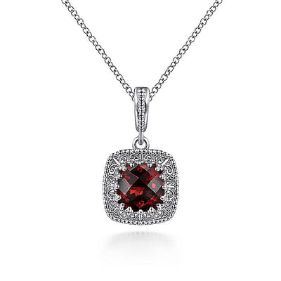 925 Sterling Silver Cushion Cut Garnet Pendant Necklace with Filigree Frame