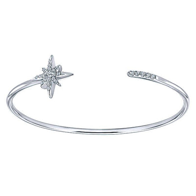 925 Sterling Silver White Sapphire Starburst Open Bangle