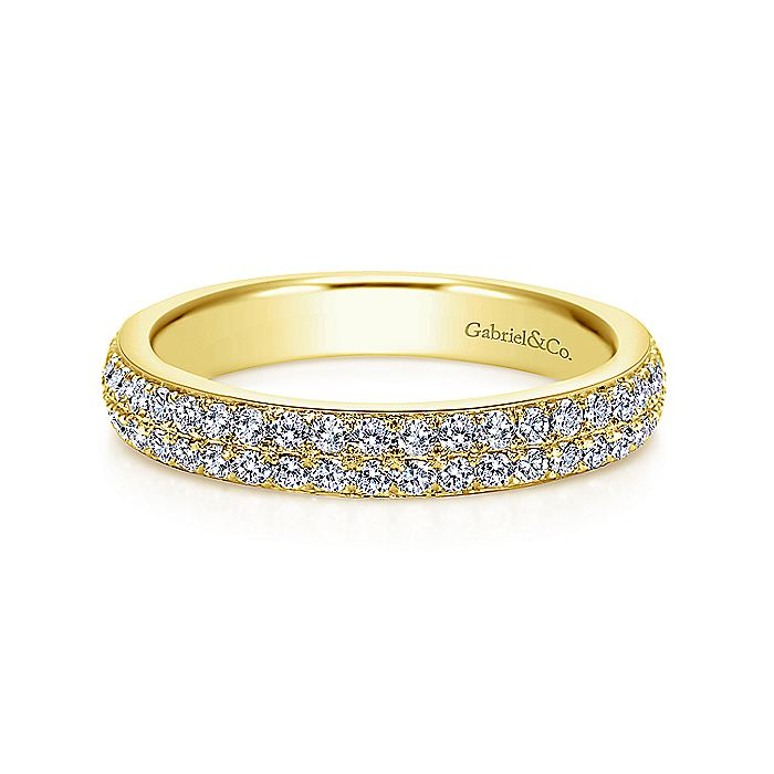 Two Row 14K Gold Micro Pavé Diamond Anniversary Band
