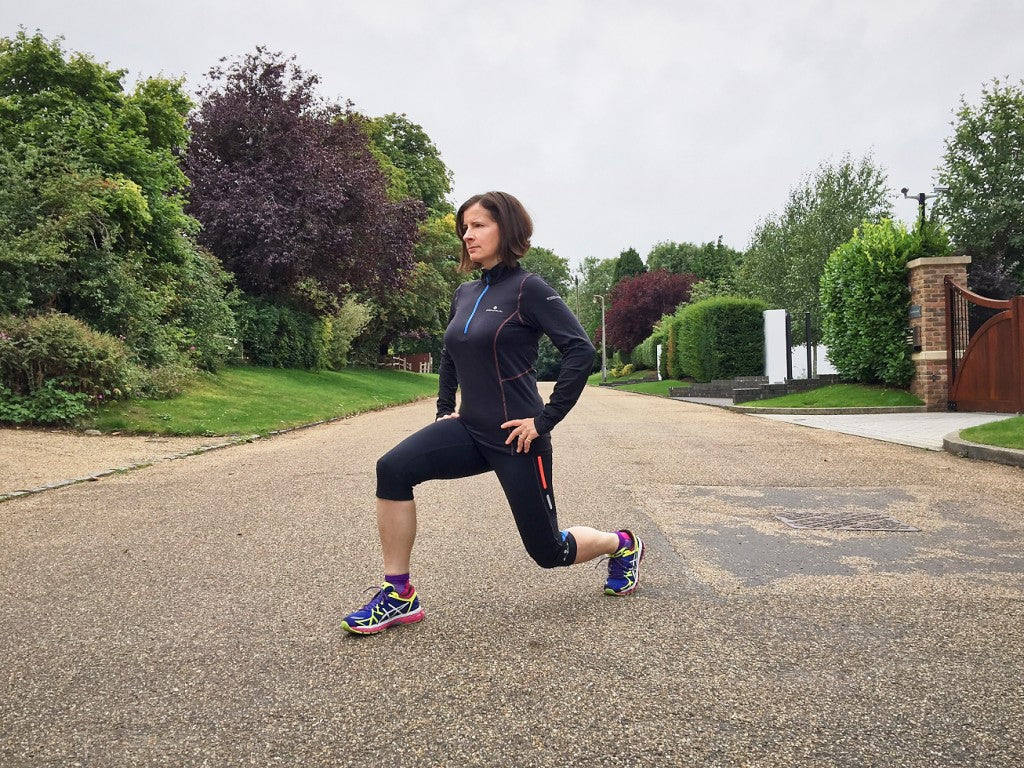 Lunges post run help to stretch out the hipflexor and quadriceps and rid of any waste built up in the muscle