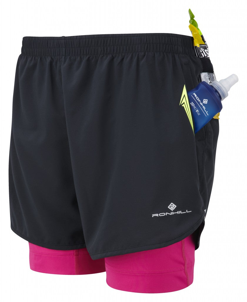 Women's Trail Fuel Twin Short in Black/Magenta