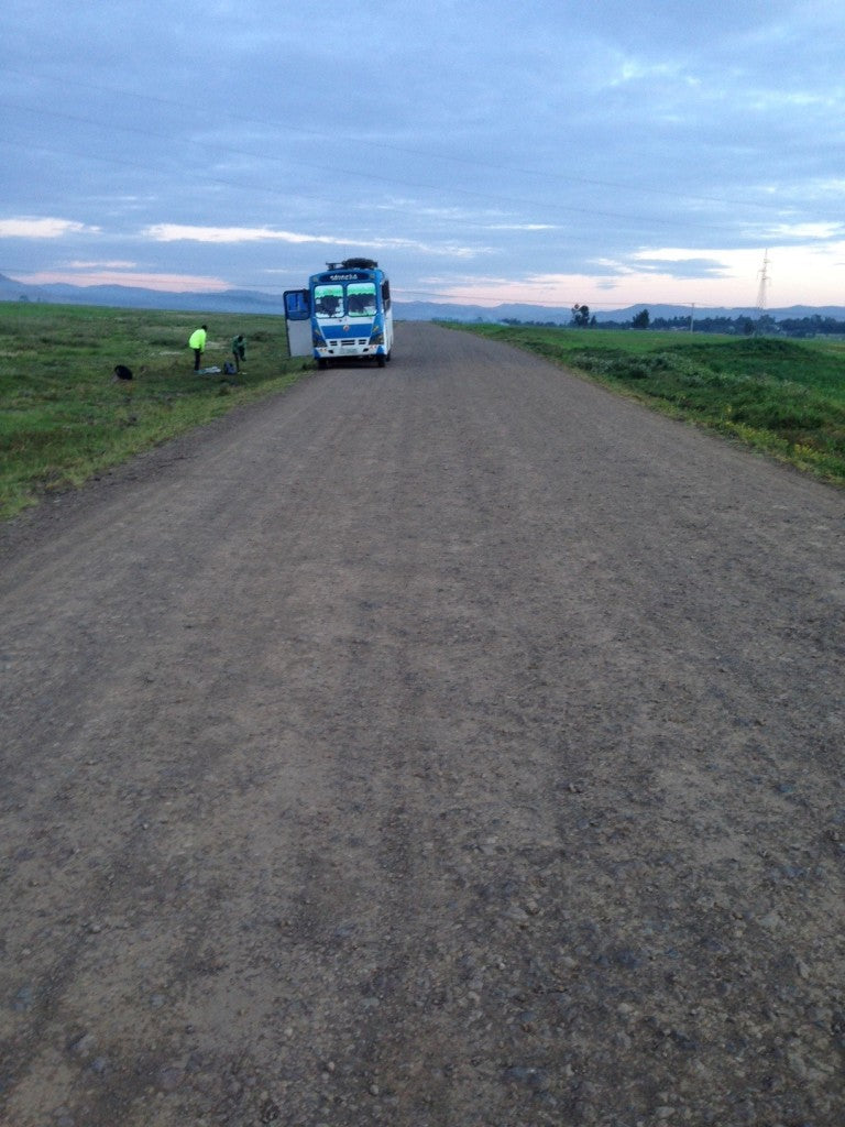 The team bus on the 'coroconch' road: Sendafa
