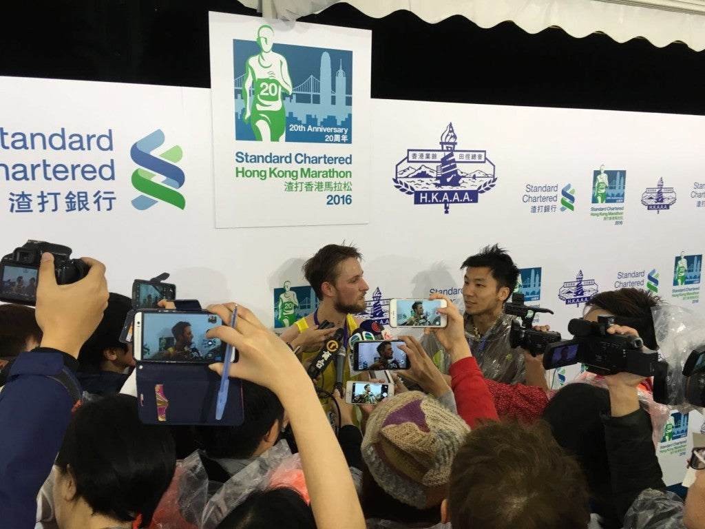 Post race interviews with the Hong Kong media!